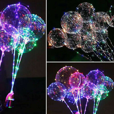LED BoBo Balloon Lights Transparent 18inch Colorful Luminous with Stick Party - Balloon With Led Light