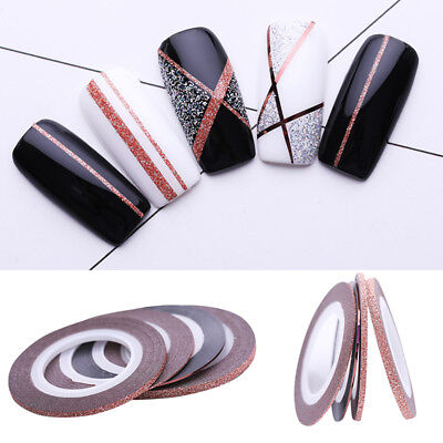 4Pcs Nail Line Striping Tape Rose Gold Matte Glitter 1mm 2mm 3mm Adhesive Decals Glitter Line