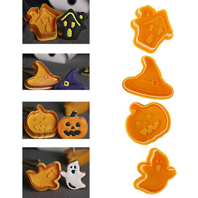 Halloween Pumpkin Ghost Theme Plastic Cookie Cutter Plunger Cake Decora To SE