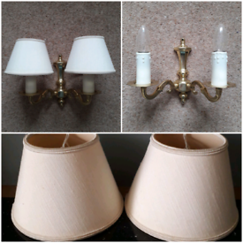 VICTORIAN STYLE BRASS DOUBLE ARM CANDLE WALL LIGHT & LAMPSHADES