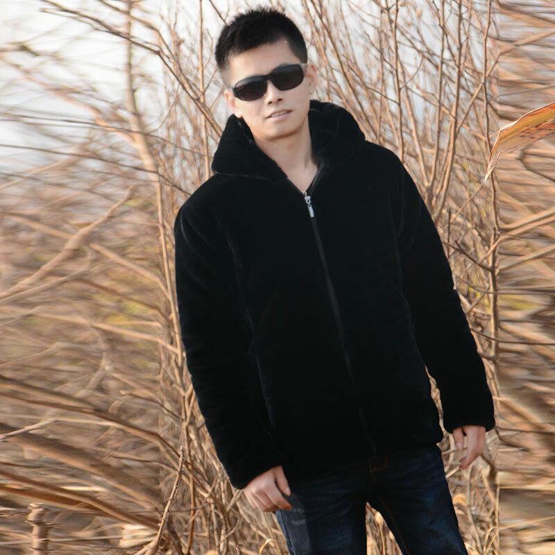Men Faux Fox Fur Jackets Coats Overcoat Short  Hooded Outwea