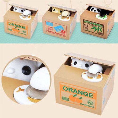 Black & White Cute Stealing Panda Coin Money Box Piggy Storage Saving Bank Toy