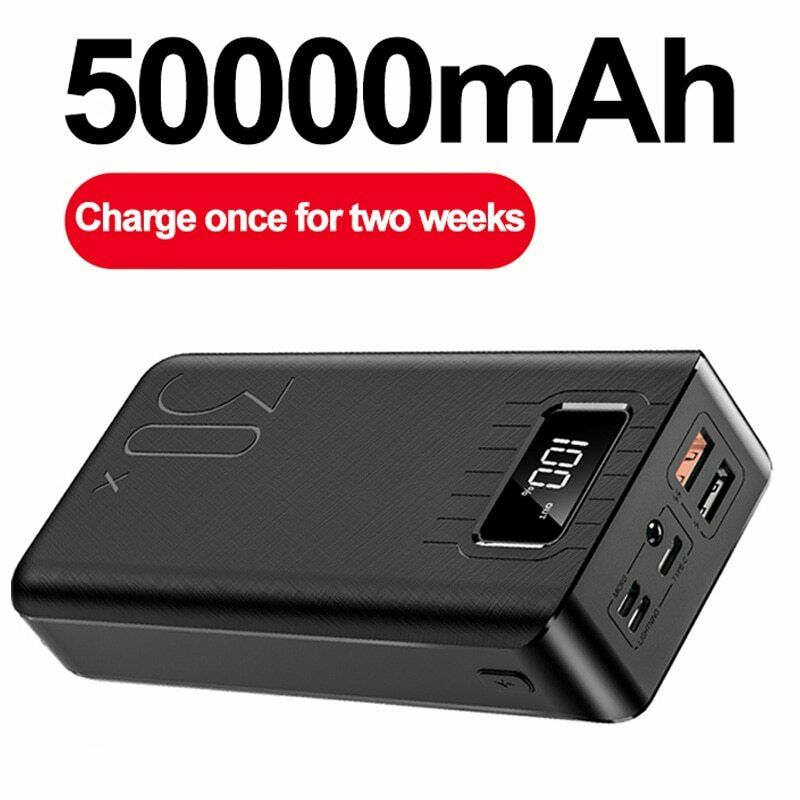 50000mAh Power Bank TypeC Micro USB QC Fast Charging Powerbank LED Display