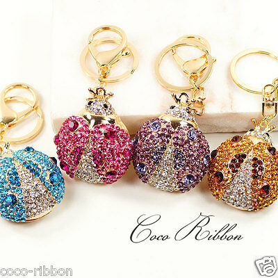 - Rhinestone Crystal Ladybug Alloy Key Chain Key Ring Keychain B45