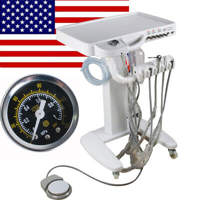 Mobile 4-hole Dental Delivery Cart Unit Equipment No Compressor Supply Us Stock