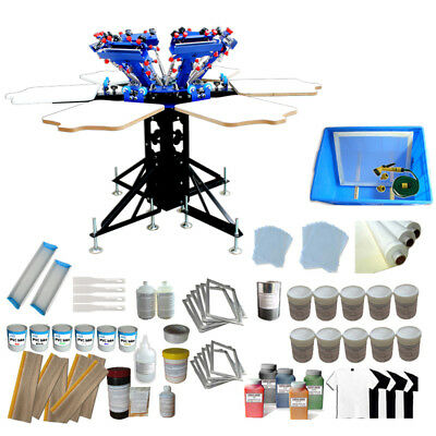 6 Color Screen Printing Kit With Silk Screen Ink Supplies Shirt Press Machine