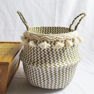 Natural Seagrass Flower Basket Lattice White Shell Tassel Plant Pot Laundry Bag