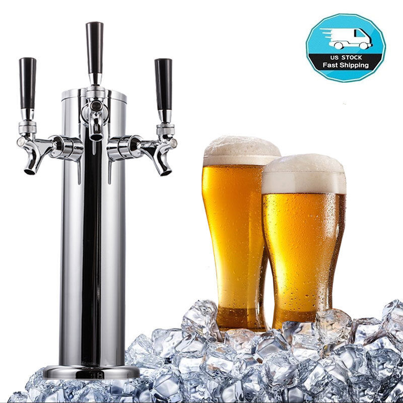 3 Faucet Beer Tower Triple Tap Kegerator Stainless Steel for Home/Outdoor Party