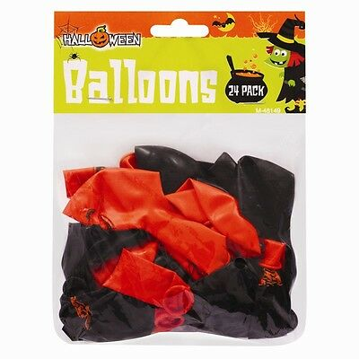 Halloween Balloons Spooky Design Latex Party Decorations Black Orange - 24 Pack