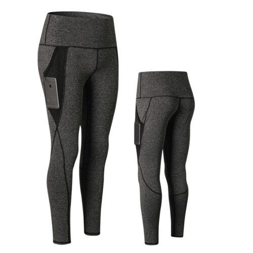 Damen High Waist Running Workout Leggings für Yoga mit Taschen Bauchkontrolle