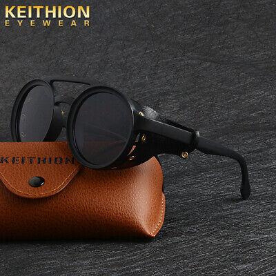 KEITHION Men Vintage Polarized Steampunk Sunglasses Fashion Round Retro Eyewear](Steampunk For Men)