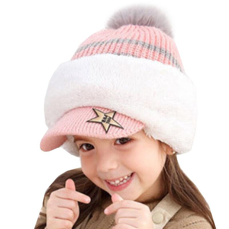 Details about  /Toddler Kids Winter Knit Balaclava Pom Pom Beanie Hat Earflap Neck Warmer Cap