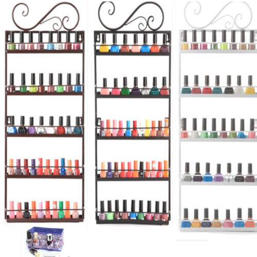 5 Tier Metal Wire Nail Polish Display Wall Rack Makeup Organizer ...