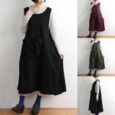 Pocket Kleid (ZANZEA Damen Mode Kleid Maxikleid Pocket Lässig Oversize Rundhals Sommerkleid)
