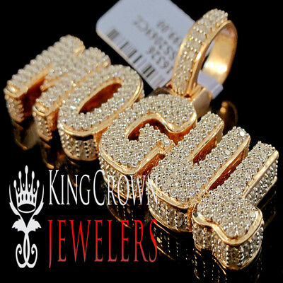 10K Rose Gold On Real Silver Rapper Style Mogul Custom Charm Lab Diamond -