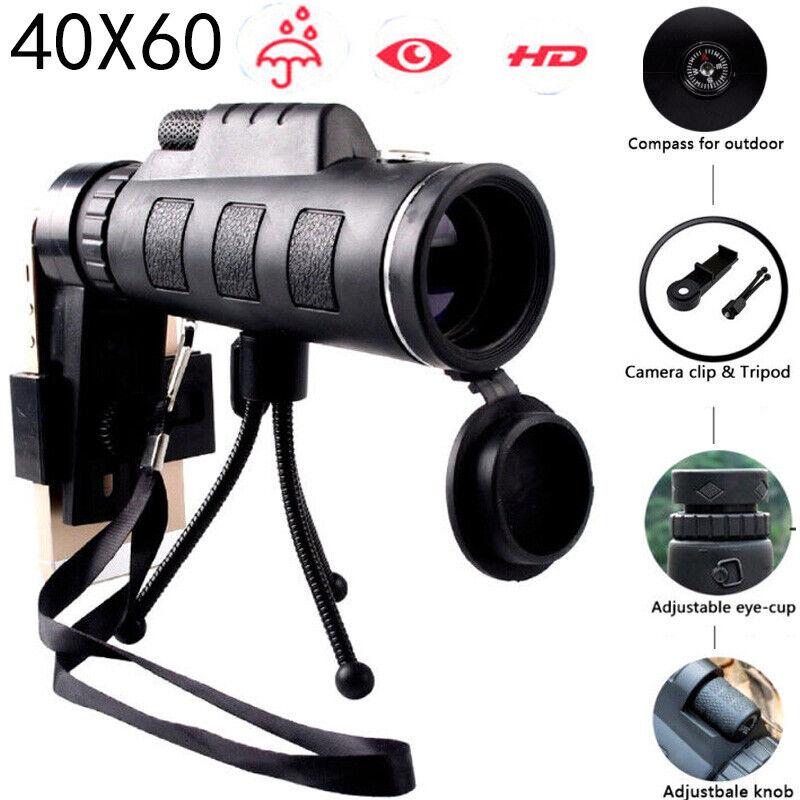 High Power 40X60 HD Monocular Telescope Night Vision Outdoor+Phone Clip Tripod R