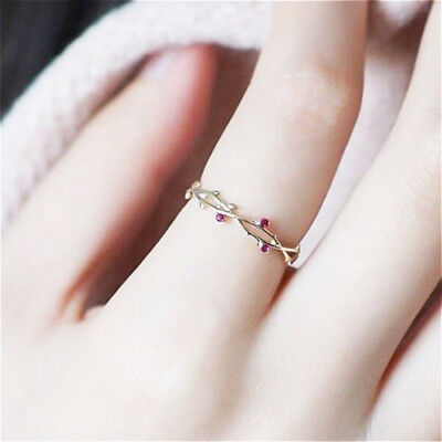 Fashion 18K Gold Red Ruby Bridal Wedding Leaf Ring Anniversary Gift Size 5-11](Red Wedding Ring)