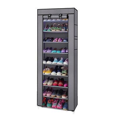 Portable 10 Tier Shoe Rack Shelf Storage Closet Organizer Cabinet w/Cover