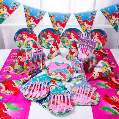 89Pcs Girls Mermaid Ariel Party Supply Tableware Gift Bags Birthday Plates Hats - Ariel Birthday Plates