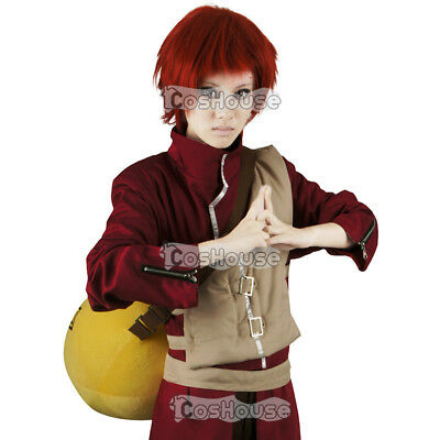 Red Gaara Cosplay Costume Fancy Dress Full Set Outfit