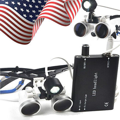 Dental Medical Binocular Loupes 3.5x 420mm Optical Glass Loupe Led Head Light