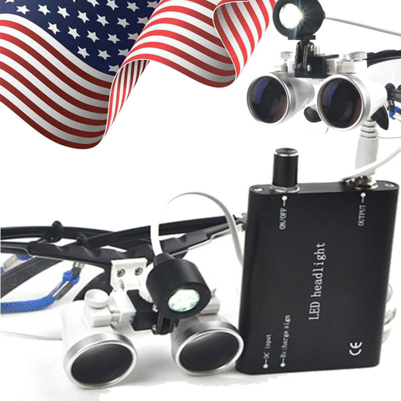 Dental Medical Binocular Loupes 3.5X 420mm Optical Glass Loupe + LED Head Light