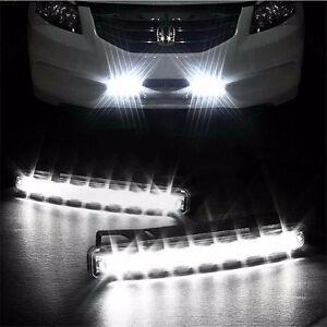 Two Car Light 8LED DRL Fog Driving Daylight Daytime Running LED