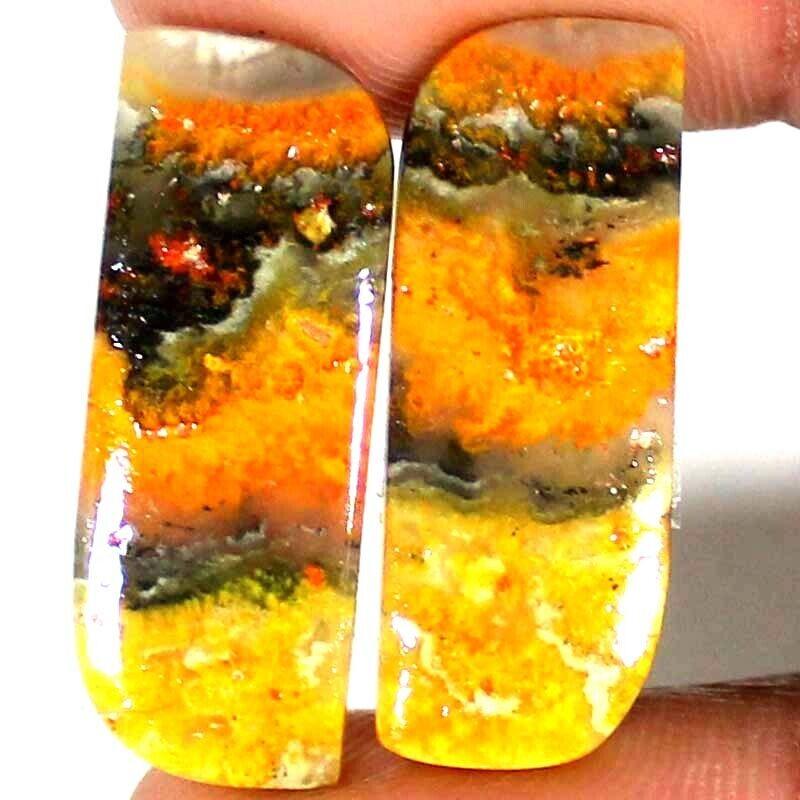 22.75 Cts 100% Natural BUMBLE BEE JASPER Fancy Pair Cabochon 11x29x3 mm Gemstone