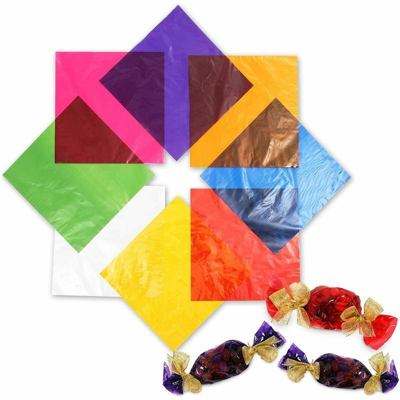 Colored Cellophane Wrap Sheets for Gift Baskets, DIY Crafts, 8 Colors (120 Pcs)