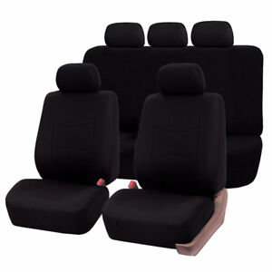 Auto Seat Cover Sets Black Blue Gray Fabric and Leather