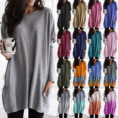 Women Plain Baggy T-Shirt Dress Tops Ladies Long Sleeve Pocket Casual Mini Dress