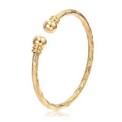 Child Toddler Kids Girls Yellow Gold Filled Bangle safety Bracelet Baby Jewelry (Toddler Jewelry)