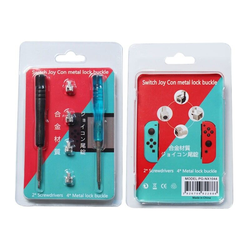 Metal Lock Buckles-Latch Set Kit for Nintendo Switch Joy Con with 2 Screwdrivers