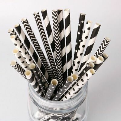 Black White Striped Wave Paper Drinking Straws For Birthday Wedding Baby Party  - Black Straws