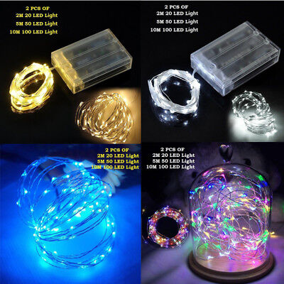 Battery Powered Fairy Lights - 2 Sets 20//50/100 LED String Fairy Lights Copper Wire Battery Powered Waterproof
