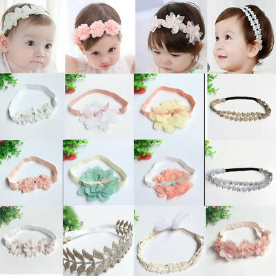 Cute Baby Girls Flower Hairband Soft Elastic Headband Hair Accessories Band 0-6T
