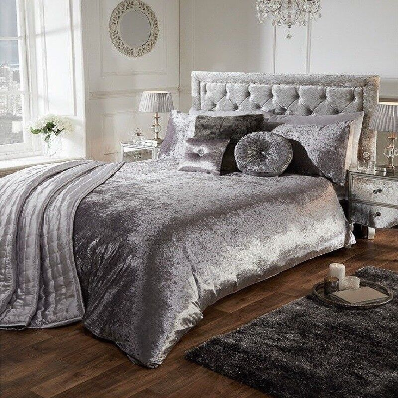 CHARCOAL LUXURY CRUSHED VELVET DUVET QUILT COVER BEDDING SET All Uk Sizes