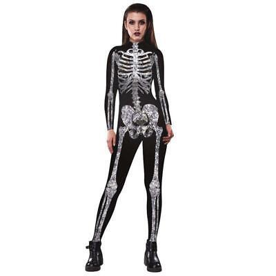 Damen Halloween Skelett Knochen Kleid Body Anzug Overall Leggings Plus