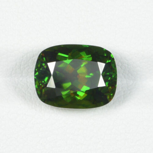 4.74 ct ULTRA RARE & MULTI COLOR FLASHES NATURAL GREEN SPHENE - Cushion See Vdo