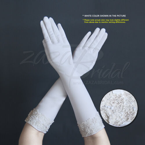 Stretch Dull Matte Satin Gloves w/ Embroidered Flowers, Pearls & Beads Cuff