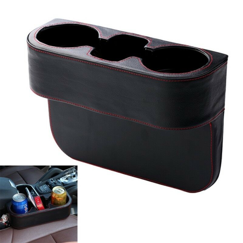 PU Leather Car Auto Seat Dual Cup Drink Bottle Holder Universal Pocket Storage