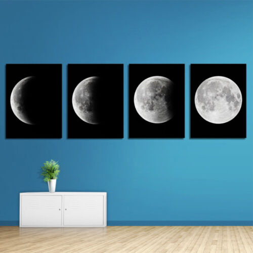 4Pcs Painting Picture Canvas Print Decor Wall Art Abstract Moon on Black Decor