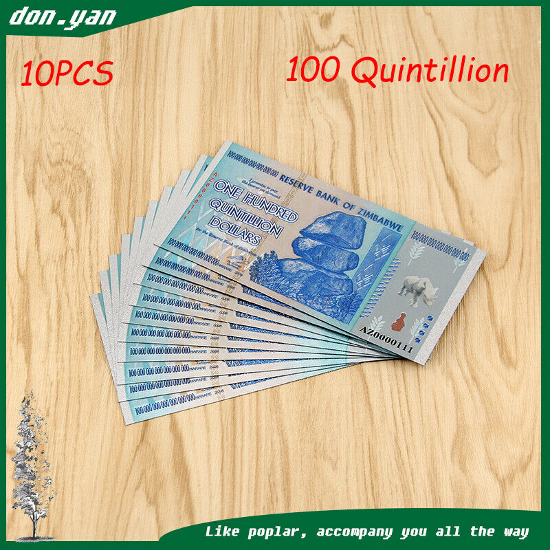Zimbabwe 100 Quintillion Dollars Banknote Paper Money Collection Gift 10pcs