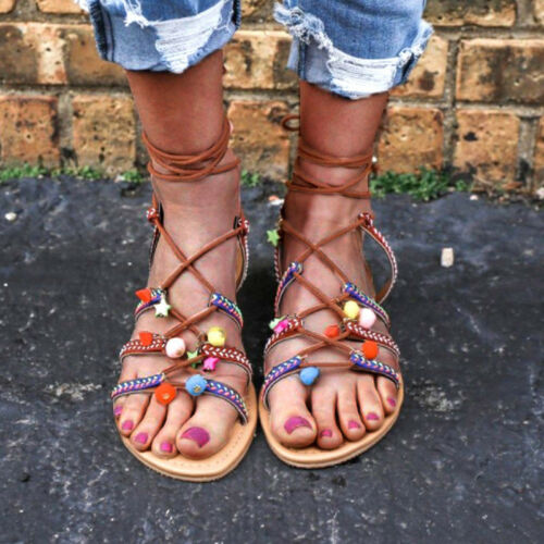 Details zu Boho Strass Perlen Blumen Sandalen Damen Sandaletten Flach Slides Sommer Schuhe