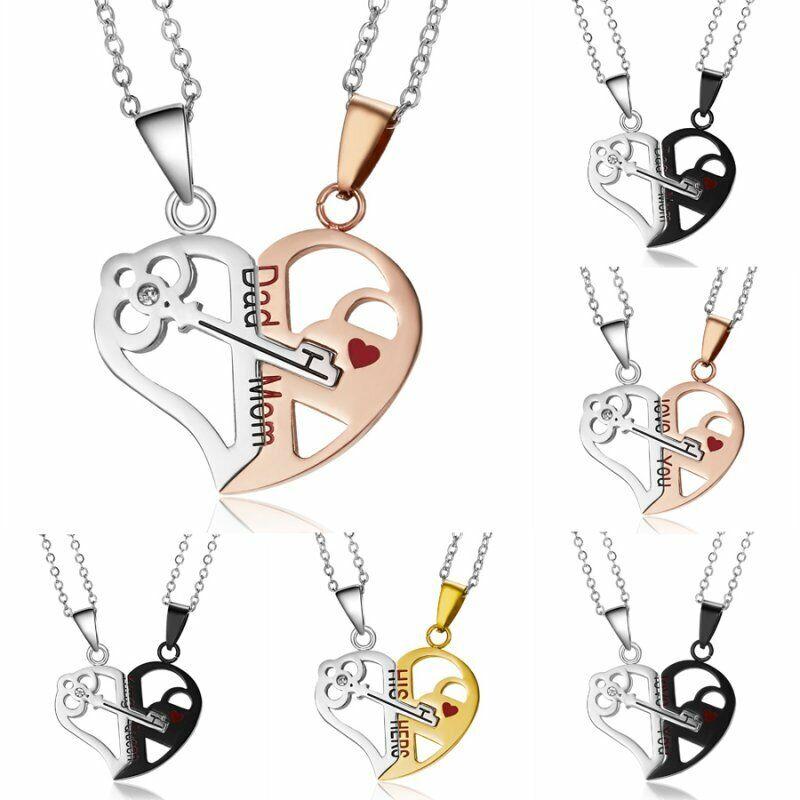 2pcs Fashion Stainless Steel Heart Couple Women Men Necklace