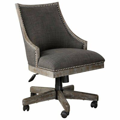 Uttermost Aidrian Swivel Desk Chair In Charcoal And Gray