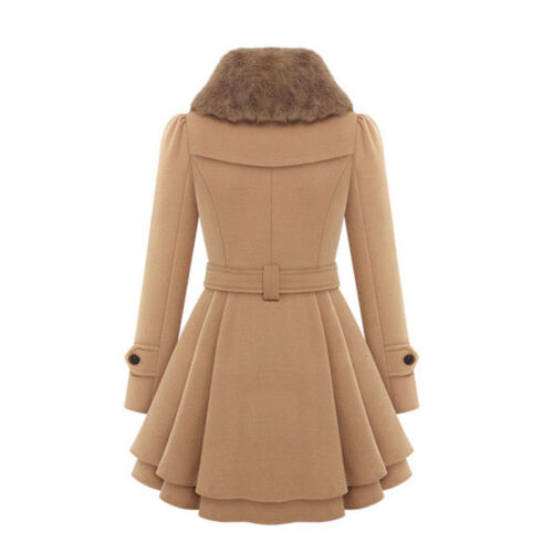 Women Thicken Fur Collared Winter Long Peacoat Coat Trench Outwear Jacket Dress 7