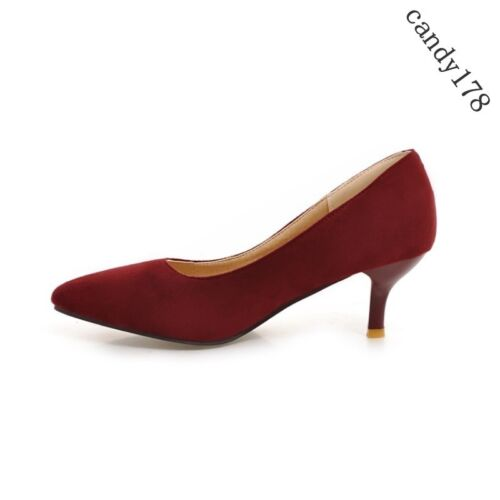 Stylish Womens OL Point Low Toe Brief Slip On Kitten Heel Plus Size Pumps Shoes
