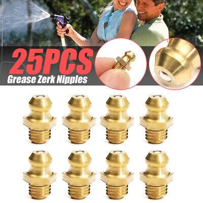 25pcs Steel Zinc Yellow 14-28 Taper Thread Straight Grease Zerk Nipple Fitting