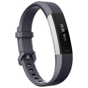 New Open Box Fitbit Alta HR Fitness Watch - Large Blue/Grey Band